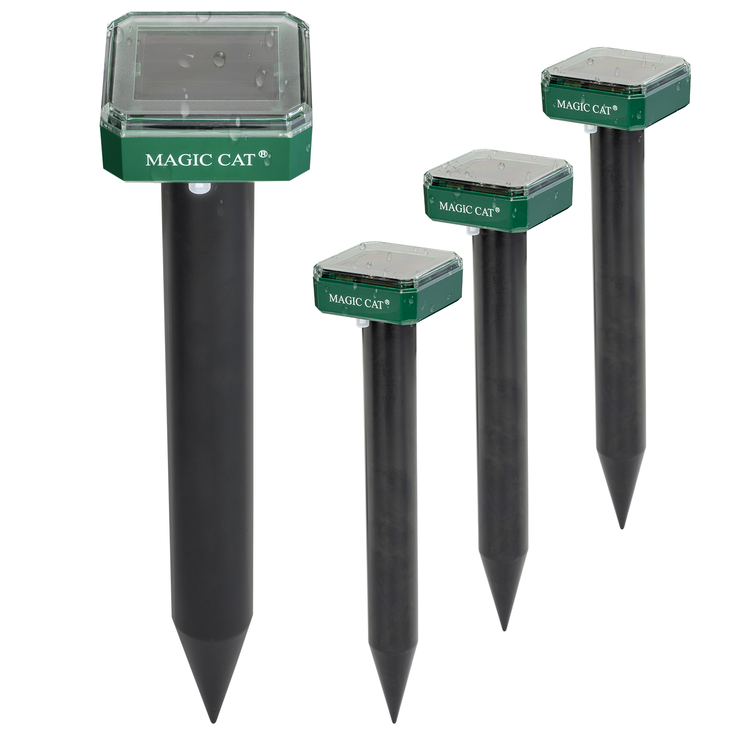 MAGIC CAT Solar Mole Repellent, 4 Pack Ultrasonic & Solar Powered Gopher Repellent, Waterproof Sonic Groundhog Repeller Rodent Gopher Deterrent Vole Chaser for Lawn, Yard & Garden of Outdoor Use