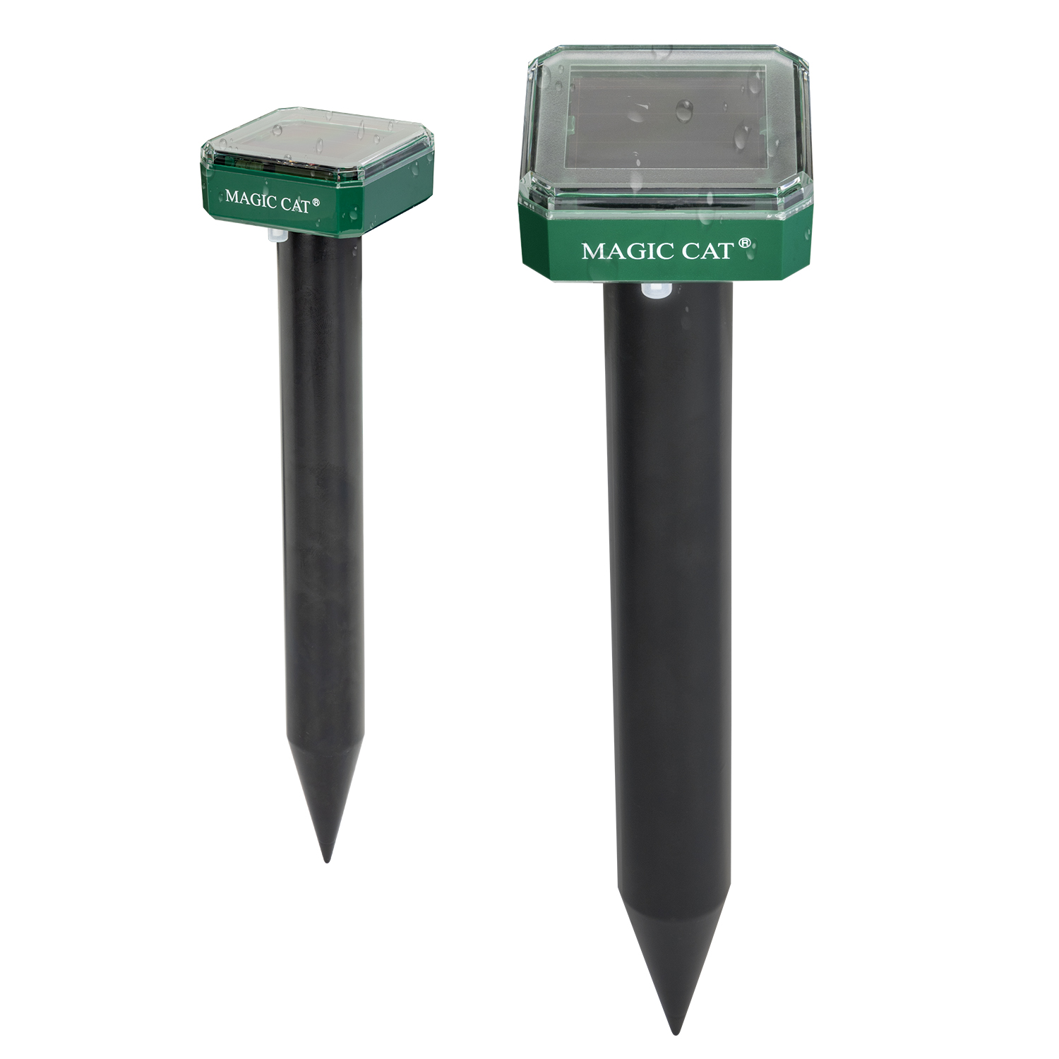 MAGIC CAT Solar Mole Repellent, Ultrasonic & Solar Powered Gopher Repellent, Waterproof Sonic Groundhog Repeller Rodent Gopher Deterrent Vole Chaser for Lawn, Yard & Garden of Outdoor Use (2 Pack)